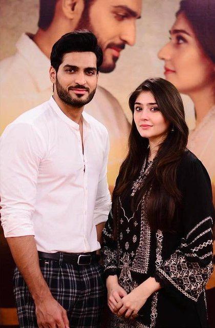 dur-e-fishan saleem and Omar Shehzad on the set of bharaas