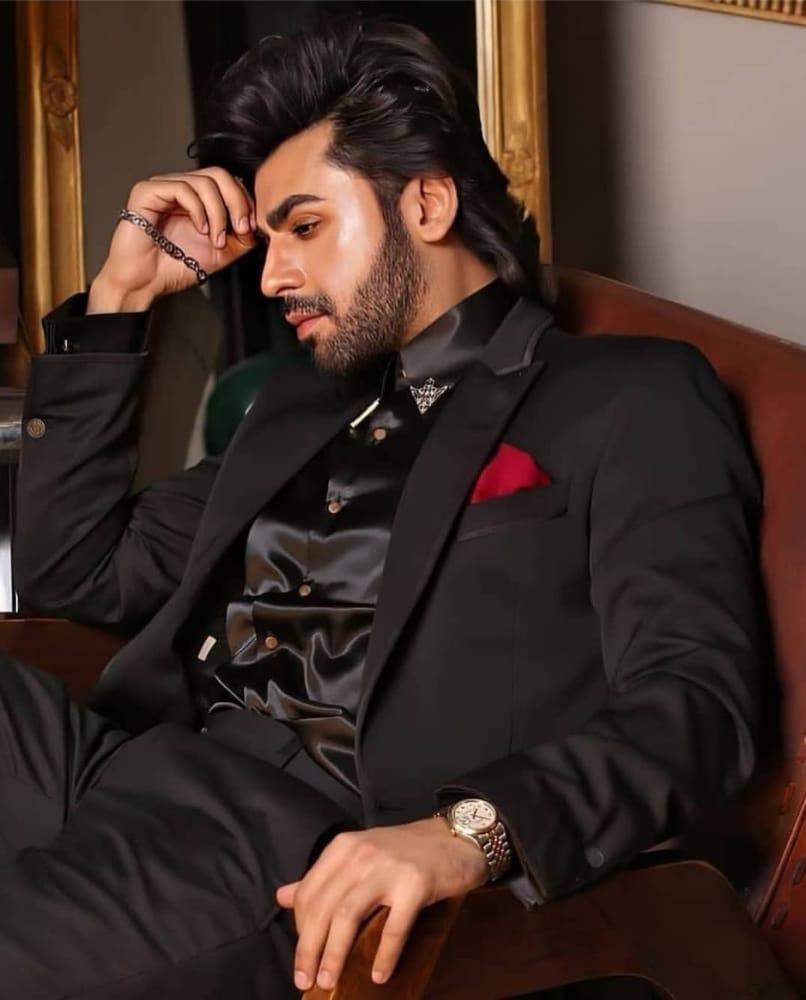 farhan saeed in black dress