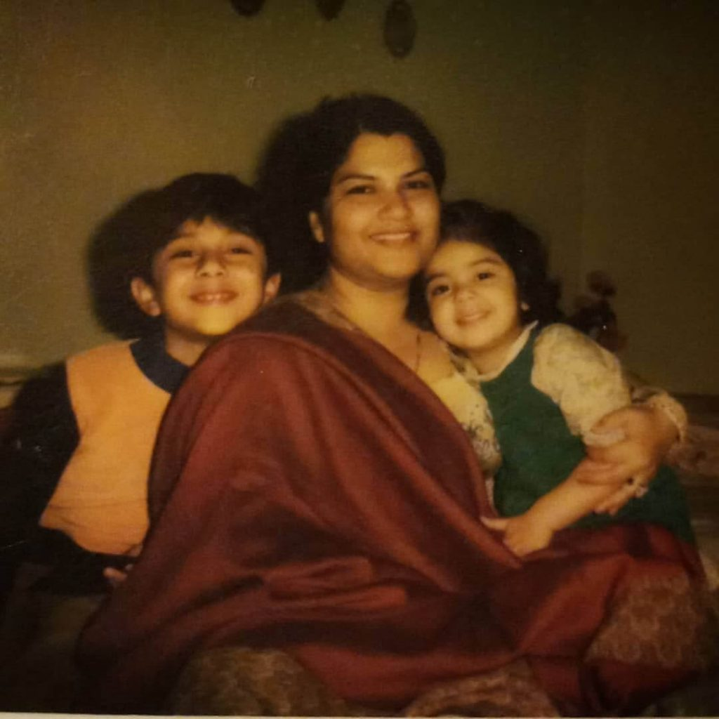 uzma hassan with her mother and brither chlidhood memories