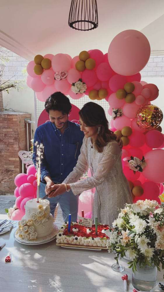 aini jaffri and Faris Rahman were very happy and cut their wedding anniversary cake together