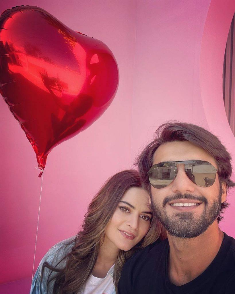 Minal Khan and Ahsan Mohsin got engaged last week.