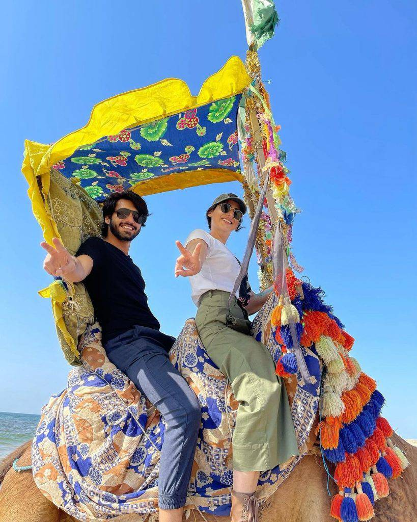 Minal and Ahsan rode a camel together and walked along the beach
