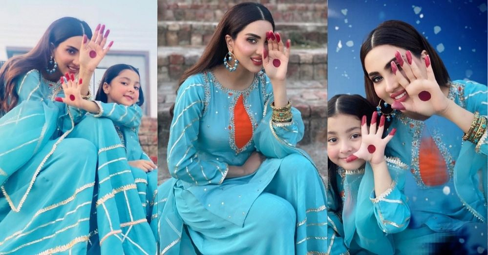 Beautiful New Pictures of Fiza Ali with Her Daughter Twinning In The Same Outfit