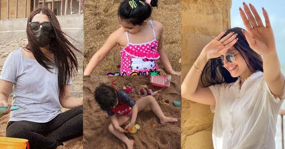 Ayeza Khan Enjoying Weekend With Children At Beach