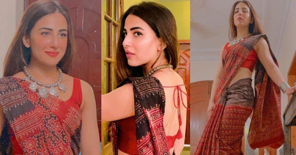 Ushna Shah Looking Super Hot In Saree