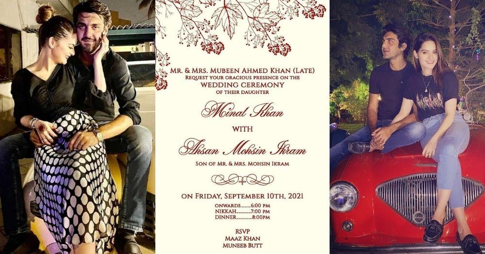 Ahsan Mohsin Ikram and Minal Khan Have Revealed Their Wedding Card