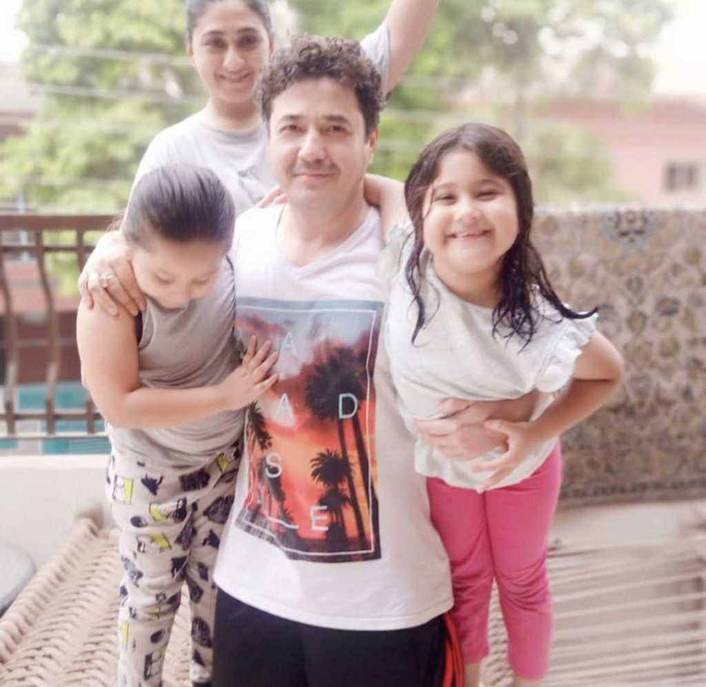 Hassan Noman with his wife and daughters