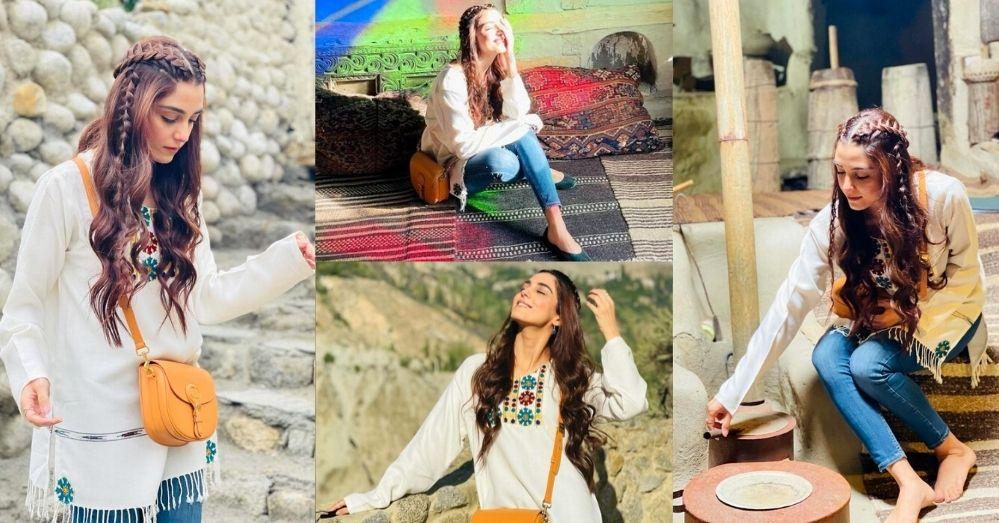 Maya Ali Stuns Fans Wearing Blue Jeans and White Kurti