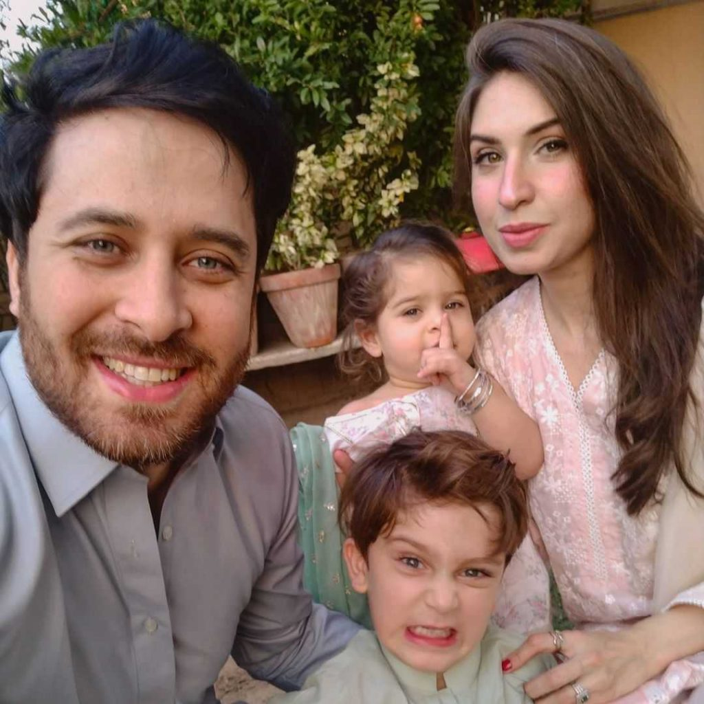Haroon Shahid with his wife and kids