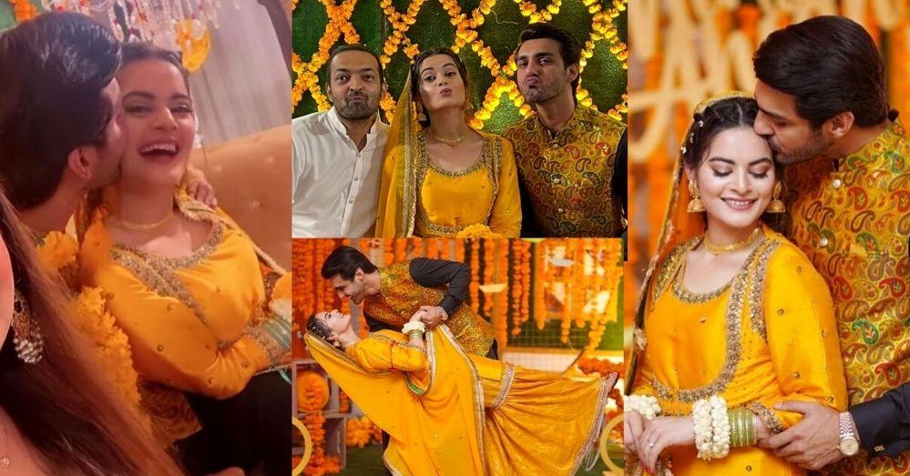 Minal Khan Mayun Pics with Husband Ahsan Mohsin Ikram