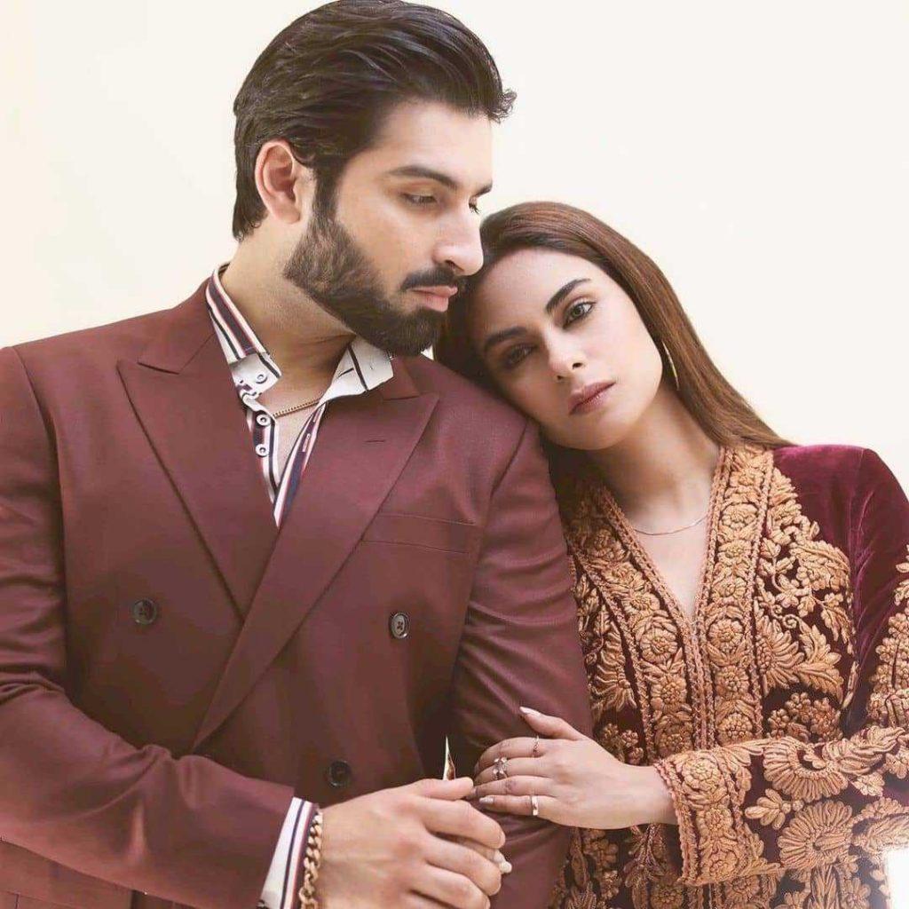 muneeb butt and amar khan posing for baddua drama