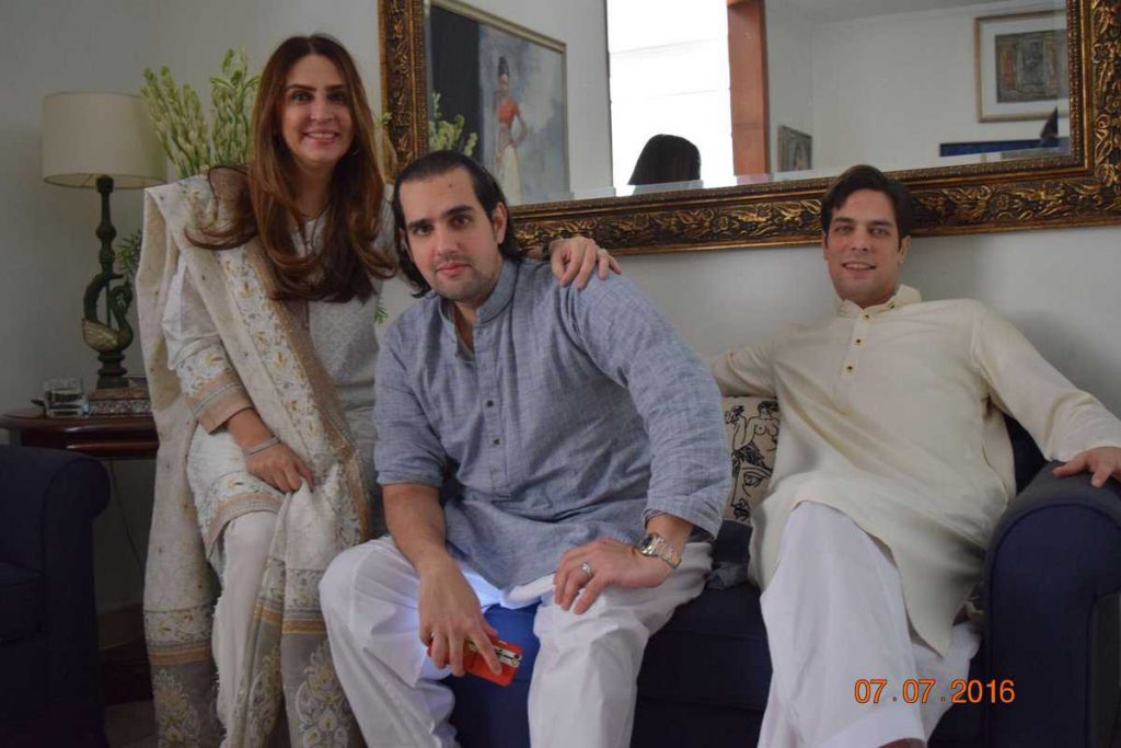 shahbaz taseer with his mother Aamna Taseer and brother