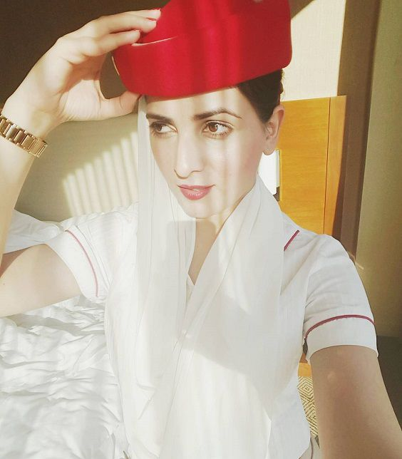 Old Picture When she was working as  flight attendant.