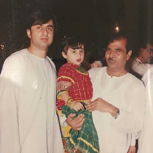 Mashal Khan with her father and grandfather